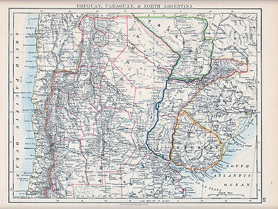 1894 Victorian Map ~ Southern South America ~ Uruguay Paraguay & North Argentina