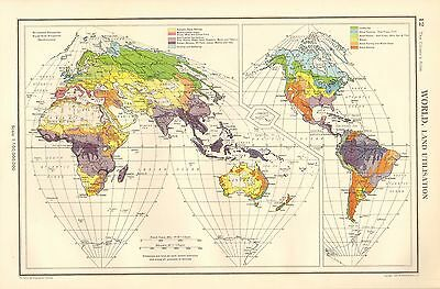 1952 Map ~World Land Utilisation ~ Farming Wheat Agriculture