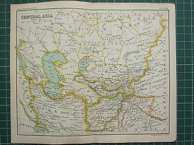 1904 Small Map ~ Central Asia ~ Persia Turkestan Afghanistan Punjab