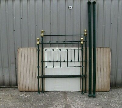 Victorian single bed iron with brass fittings