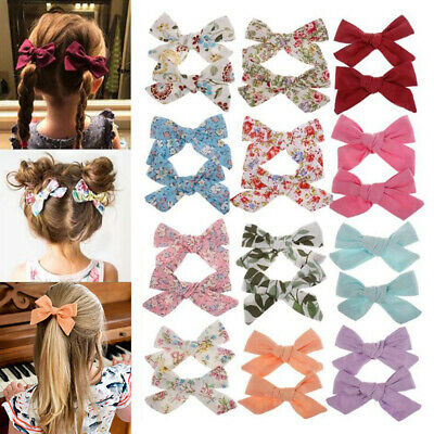 2PC Boho Style Baby Girls Flower Print Bow BB Hair Clip Children Cotton Hairpins