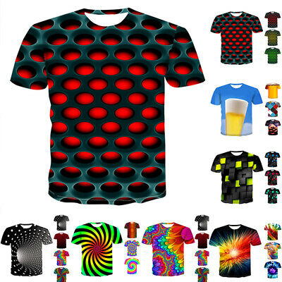 Mens 3D Geometric Print T-Shirt Casual Short Sleeve Round Neck Casual Tee Tops