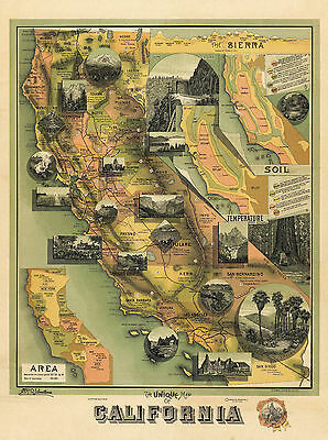 1885 Unique Pictorial Map Of California Wall Art Poster Decor Antique Historic