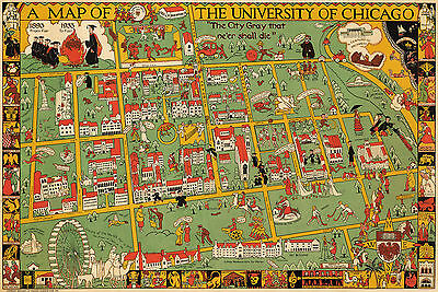 1932 Map Chicago University Campus Pictorial BirdsEye View Wall Art Poster Decor