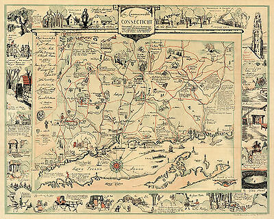1935 Pictorial Historic Map Commonwealth of Connecticut Wall Art Poster Decor