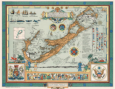 Vintage Map of the Bermudas or Somers Islands Wall Art Poster Decor History