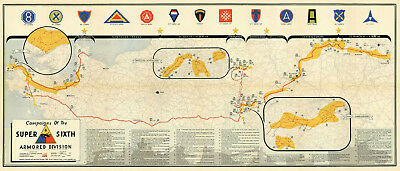 "16""x37"" - 6th Armored Division Campaign Map WWII MILITARY Sixer Super Sixth War"