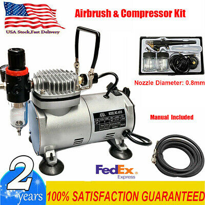 New Beginner Dual-Action AIRBRUSH AIR COMPRESSOR KIT SET Craft Hobby Art US
