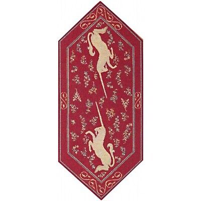 Licorne French Medieval Unicorn Woven Tapestry Table Runner With End Tassels