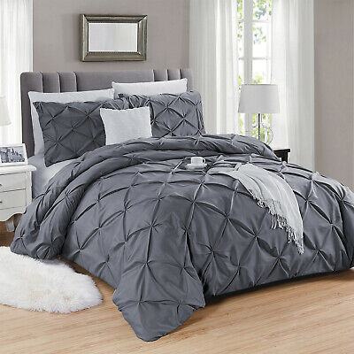 Luxury Duvet Cover Set Grey Checked Pintuck Quilt Bedding Set King size Handmade