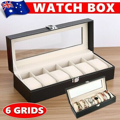 AU 6 Grids Leather Watch Display Jewelry Collection Storage Holder Box Gift FLC