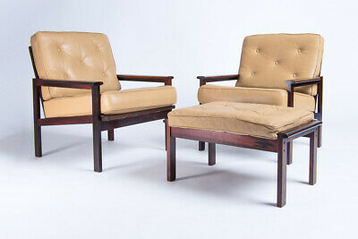 Mid Century Rosewood Leather Armchairs & Stool Wikkelso Danish Hans Wegner