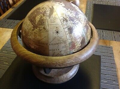 Vintage Desk Table Top Wood Stand Old World Map Globe
