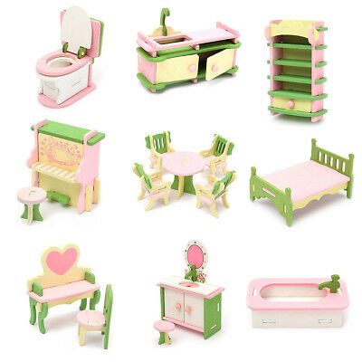 Lot 15 Set Wooden Dollhouse Miniature Furniture Puzzle Model Children Kids