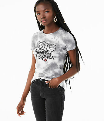 aeropostale womens love is the answer tie-dye graphic tee