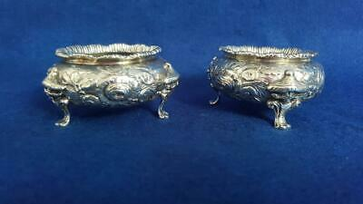Magnificent Pr Victorian H/M Sterling Silver Salts with Chinaman Mask Feet 249g