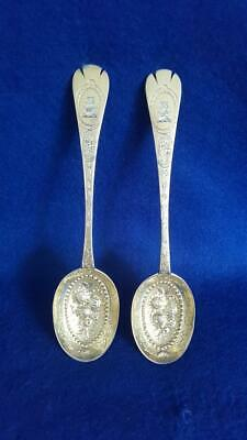 DN1: Pair Geo II Gilded Sterling Silver Berry Serving Spoons H/M Ldn 1744 87g