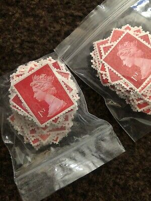 1st Class Red Unfranked Stamps Off Paper No Gum X100 All Got Security Tabs