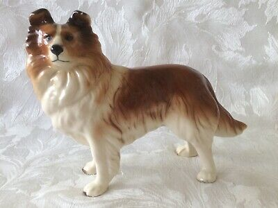 Vintage Large Collie Dog Figure By Coopercraft Pottery England  Brown/White