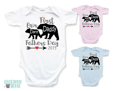 Our First Fathers Day Baby Bear Bodysuit Personalised Daddy Bear Custom Romper