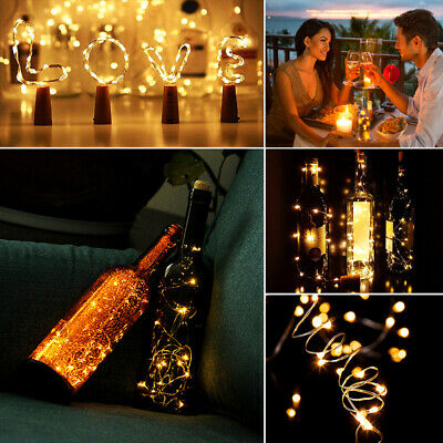 Bottle Stopper Fairy String Lights Wine/Gin Battery Cork Shaped Top 10/20 LED Qu