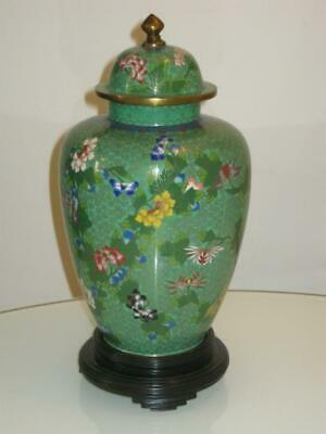Stunning Chinese Republic Cloisonne Lidded Jar With Wooden Stand