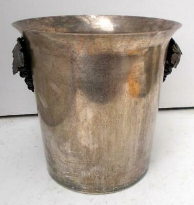Vintage French Plated Champagne Wine Ice Bucket Cooler with Vine Handles