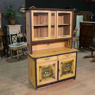 Cupboard Showcase Double Body in Painted Wood Lacquered Mobile Antique Style 900