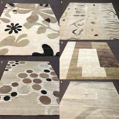 100% WOOL RUGS CLEARANCE  THICK HEAVY INDIAN WOOL BEIGE RUG warehouse STOCK SALE