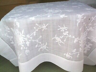 Vintage Pina Linen Embroidered Table Cloth