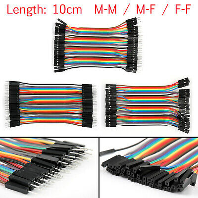 40Pcs Dupont Wire Jumper Cables 10cm M-M M-F F-F 1P-1P For Arduino Breadboard UK