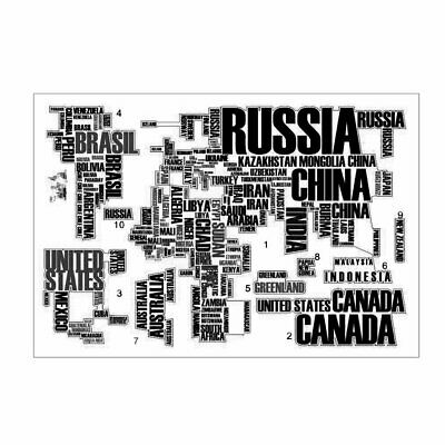 Letters World Map Wall Sticker Creative Wall Decal Waterproof Home Decoration 0U