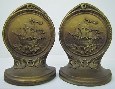 Antique BRADLEY HUBBARD Bookends SAILING SHIPS MYTICAL BEASTS Ornate B&H