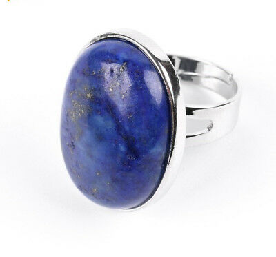 R238E Ring Silver Plated Oval with Lapislazuli Blue Adjustable Size