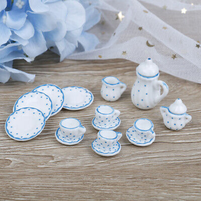 15Pcs 1:12 Dollhouse miniature blue dot tableware porcelain coffee tea cupsRKCA