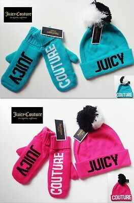 NWT Juicy Couture 2 Pc Pom Pom Logo Beanie & Mittens Set Blue or Pink New Great