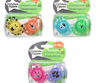 6 x Soothers Tommee Tippee Closer to Nature Fun Style 6-18 months - BPA FREE