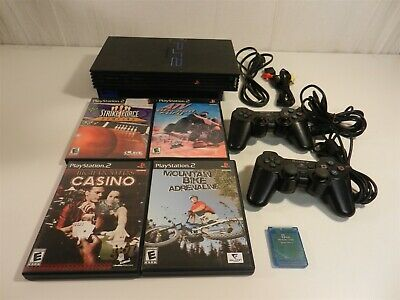 Sony PlayStation PS2 Console Bundle - 2 Controllers, 4 Games, Memory Card, Cords