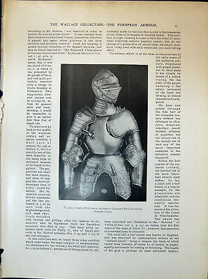 Old Suit Armour Wolf Sword German Spanish Swiss Weapons 1903 Art Jour 20th