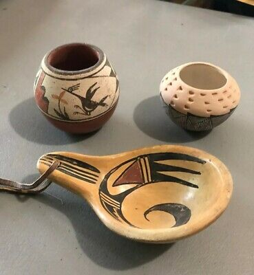 MLC s3234  3 Painted Acoma Ladle And Pots Pottery