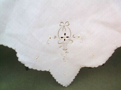 Vintage Linen Embroidered Table Cloth