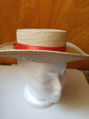 59dfc730ba04c Vintage Straw Venetian Gondolier Hat Made In Italy Red Ribbon Band Size 7