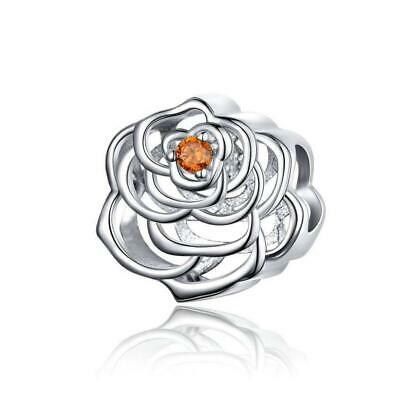 Big & Delicate Rose Flower 925 Sterling Silver Charm Bead B01
