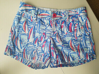 349458d15cfa93 Lilly Pulitzer Callahan Short Red Right Return Sailboat Size 0 28087