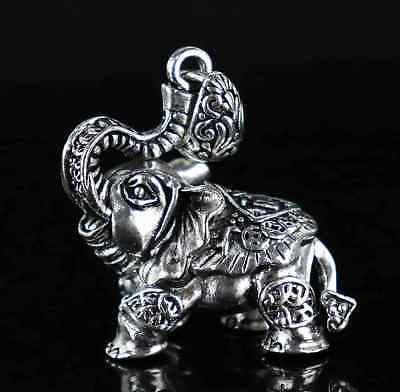 Collect China Decor TIbet Silver Carve Bring Good Luck Elephant Delicate Pendant