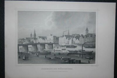 Bremen with the Weserbrücke. Partial View by Blick over Weser. IN