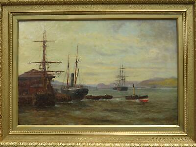 Large Marine Oil Claude Thomas Stansfield Moore b.1853 River Clyde Scotland