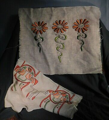 2 Hand Embroidered Linen Pillow Arts Crafts Nouveau Richardsons 1905 Vintage OLD