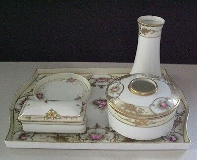 Beautiful Vintage Hand Painted Nippon Moriage & Gilt Decorated 5 Pc Dresser Set