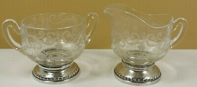 Vintage Etched Glass Creamer & Sugar Bowl W/ Sheffield Sterling Silver Bases